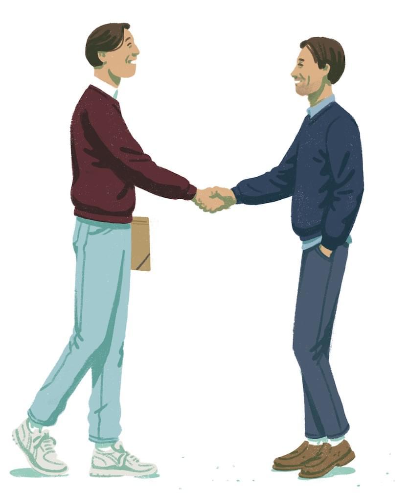 Dan and Andy shake hands